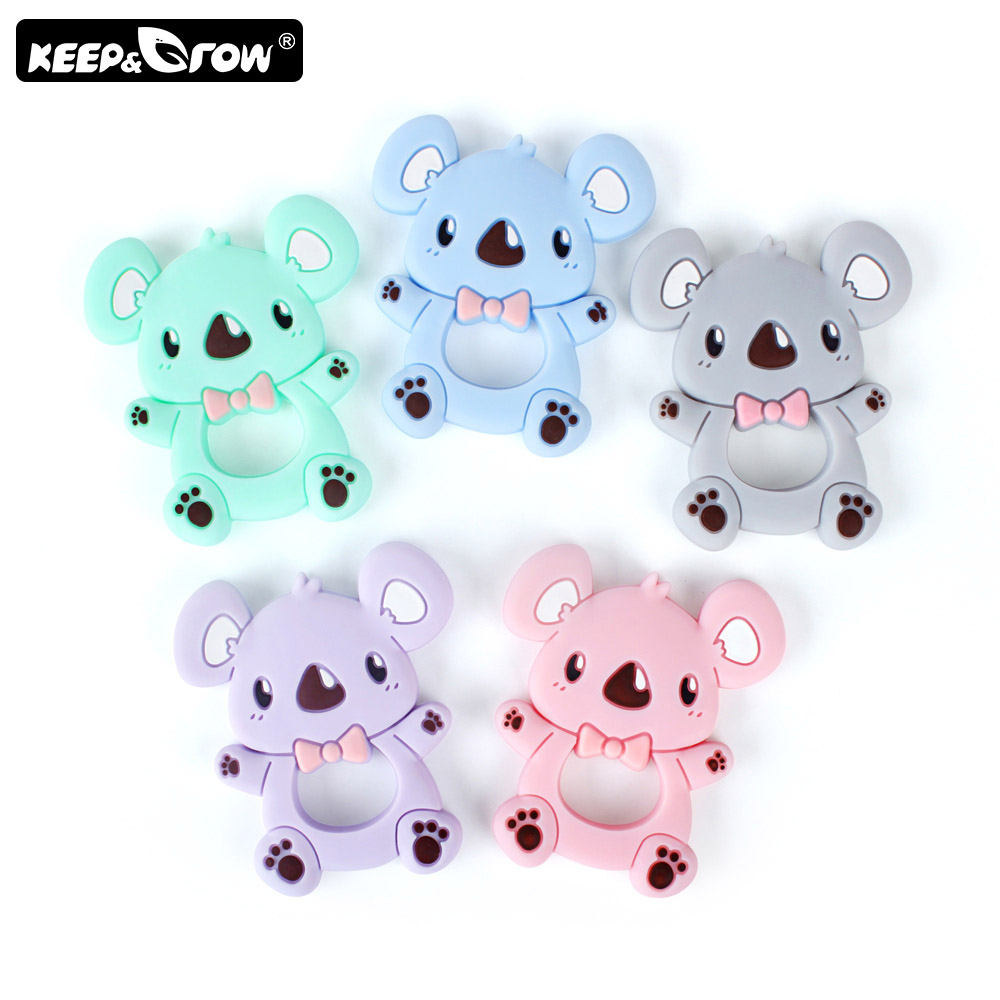 Keep Grow 1pc Koala Baby Silicone Teether Teething Toy Infant Teether Bead DIY Necklace Nursing Tool Pendant Food Grade Silicone