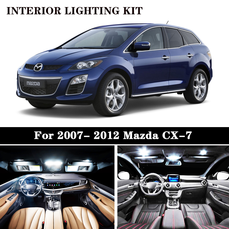 14Pcs White Canbus <font><b>led</b></font> Car interior lights upgrade Kit for 2007- 2012 <font><b>Mazda</b></font> CX-7 <font><b>CX7</b></font> <font><b>led</b></font> interior Dome Trunk License Plate Light image