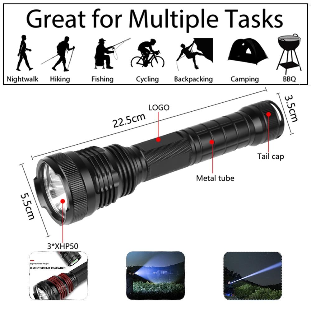 100000 lumens Led flashlight 3 xhp50 most powerful flashlight usb Zoom led torch xhp50 18650 battery Best Camping Outdoor in LED Flashlights from Lights Lighting