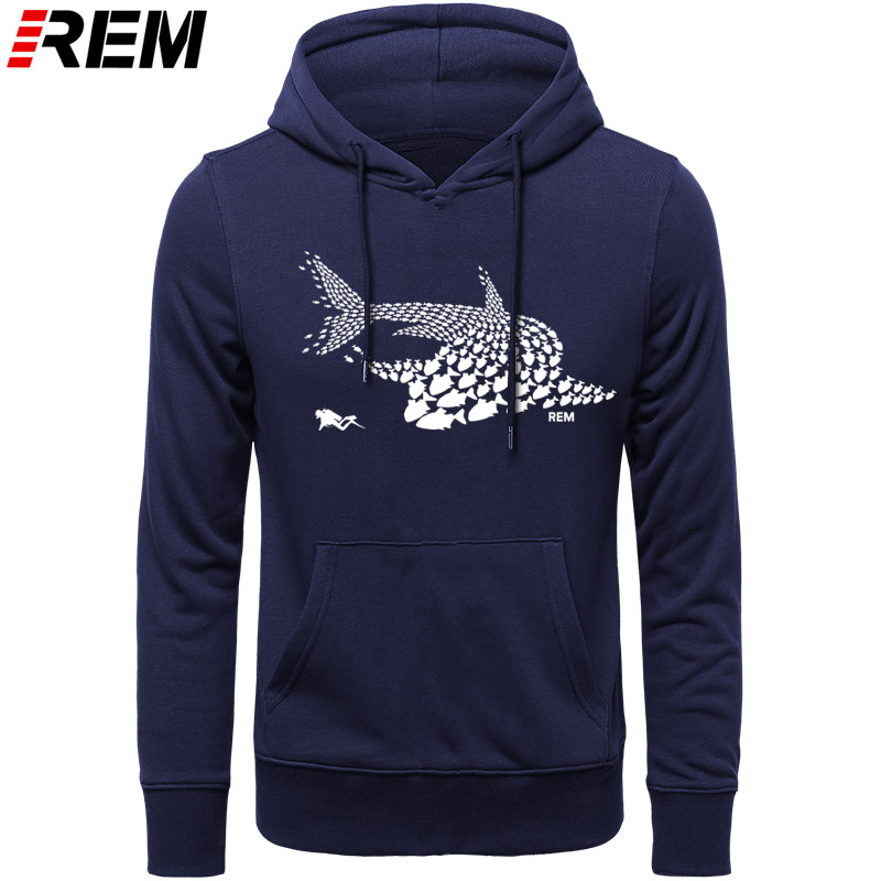 REM Hoodies Diving Fish Shark Diver Diver Tank Mask Funny Birthday Gift Cool Casual Pride Men Unisex Hoodies, Sweatshirts