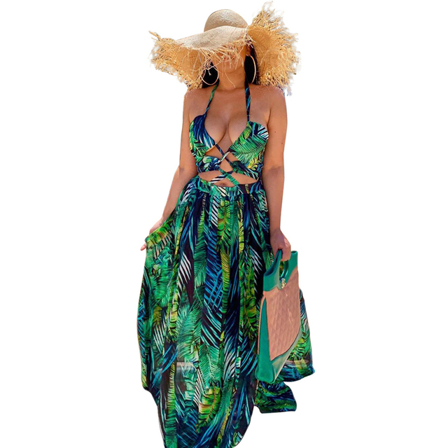 Stigende Women Bohemian Palm Leaf Maxi Dress Sexy High Split Summer Beach Halter Dress Casual Sleeveless Bandage Long Dress S-XL 2