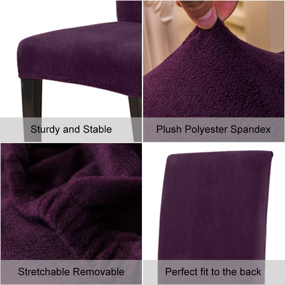 1 to 6 Pcs Removable Chair Cover Made with Stretchable Thick Plush Material for Banquet Chair 4