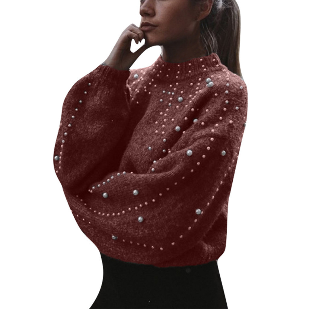 Winter Ladies Casual Sweater Thick Needle Long Sleeve Turtleneck Polyester Pure Color Pearl Regular Sleeve Pullover