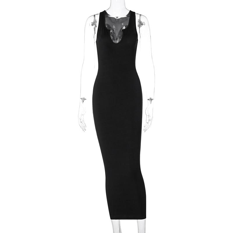 Dulzura Ribbed Knitted Stripe Women Sleeveless Midi Dress V Neck Bodycon Sexy Streetwear Party Club Elegant 2021 Spring Summer 7