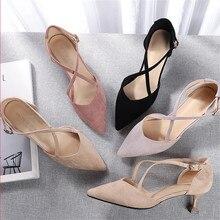 รองเท้าผู้หญิง 2020 ฤดูใบไม้ผลิหญิงชี้Toeรองเท้าส้นสูงFaux SuedeผูกSolid Flockปั๊มLeisure Elegantรองเท้าแต่งงาน