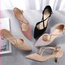 Shoes Woman 2020 Spring Female Pointed Toe Thin High Heels Faux Suede Cross Tied Solid Flock Pumps Leisure Elegant Wedding Shoes