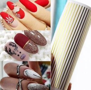 1 шт. самоклеящиеся полосатые 3D наклейки для ногтей, наклейки, Золотая и серебряная полосатая лента, дизайнерские украшения для ногтей, ново...