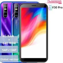 V30 pro smartphones quad core 4g ram 64gb rom 5mp + 13mp telefones celulares android rosto desbloqueado barato celulares wifi 3g versão global