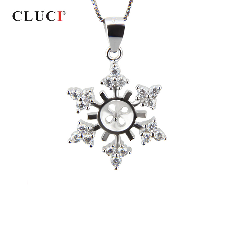CLUCI 925 Sterling Silver Snowflake Shaped Pearl Pendant Mounting Silver 925 Charms Pendant Women Fine Jewelry
