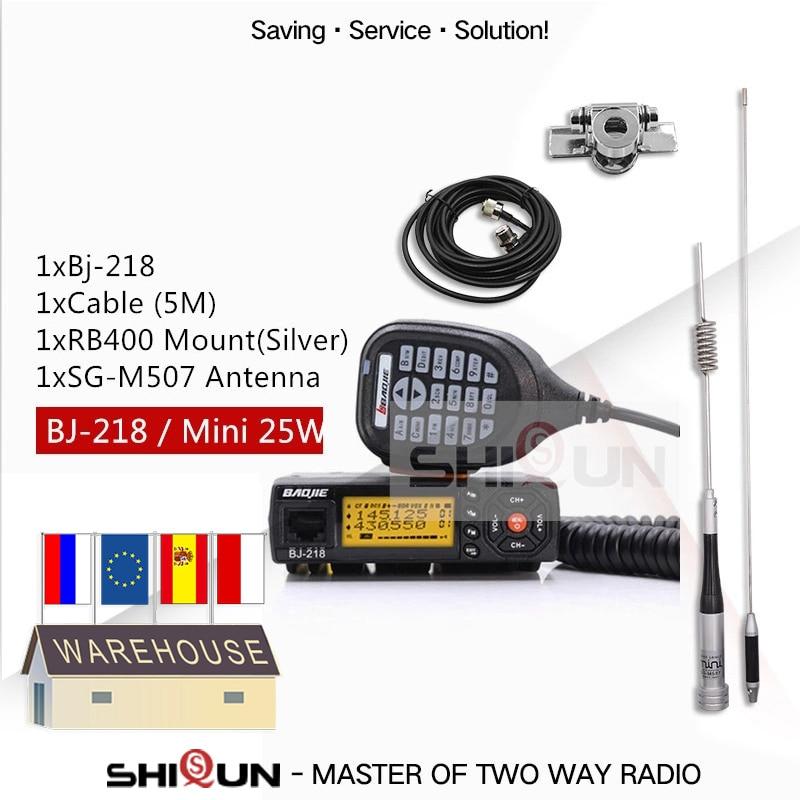 25 Вт Мобильная Автомобильная рация BJ 218 с антенной SG M507 Z218 UHF VHF двухдиапазонное