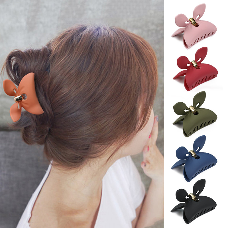 1pcs Fashion Rabbit Ear Acrylic Hair Clamp Clip Scrub Hair Claw Women Makeup Bath Hair Clamp Grips Barrette Hair Styling Tool