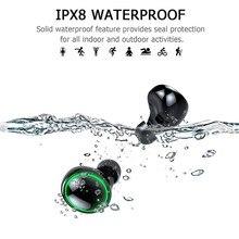 Auriculares IPX8 inalámbricos portátiles con Bluetooth, auriculares estéreo HD Auriculares inalámbricos con Bluetooth con cargador de 3500mAh