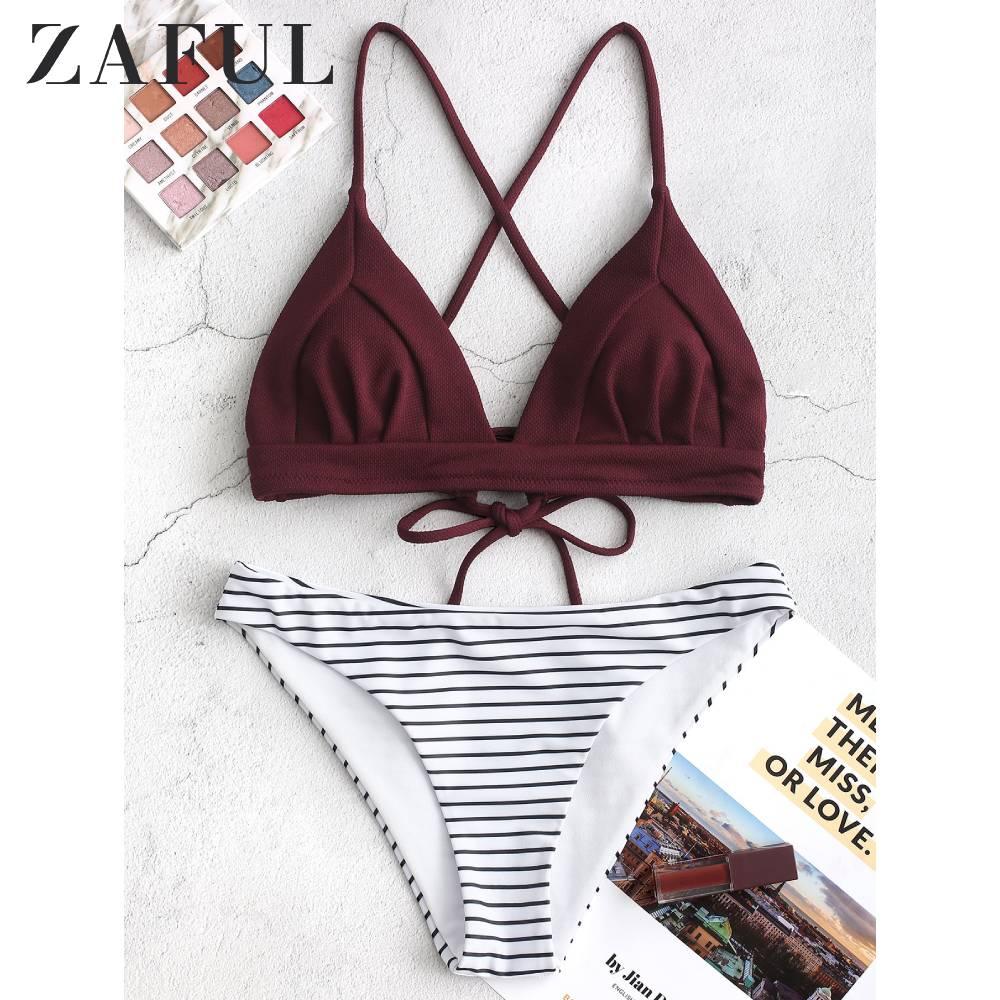ZAFUL Striped High-waisted Bikini Set Sexy Lace Up Padded Swimsuit Two Pieces Criss Cross Swimwear Women 2020 Beach Bathing Suit