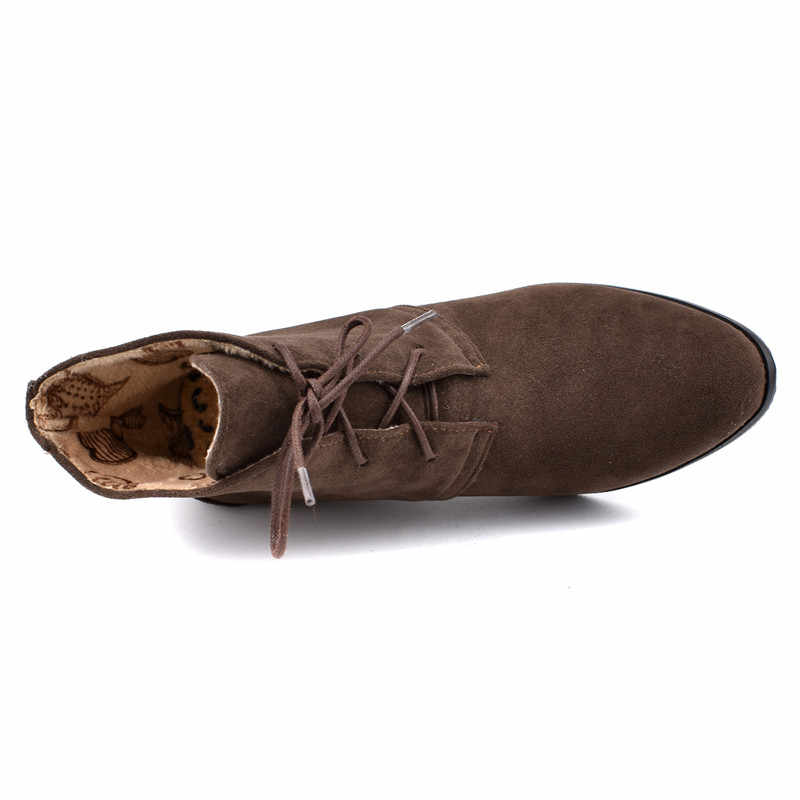 MoonMeek 2020 yeni sonbahar kış çizmeler yuvarlak ayak zip bayanlar yarım çizmeler lace up balo takozlar kadın çizmeler artı boyutu 34 -48