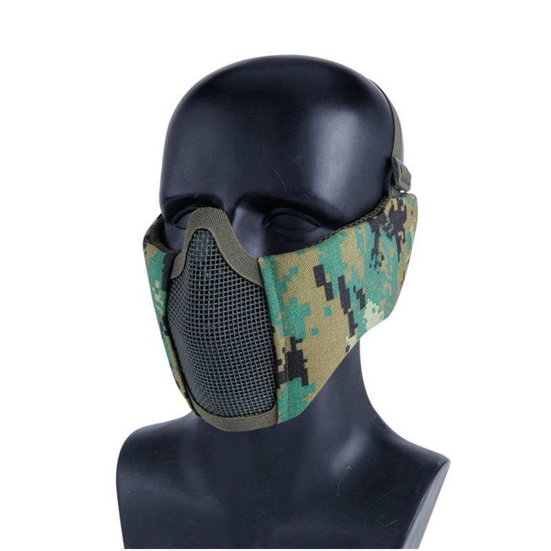 Tactical Half Face Mask Military CS Game Mask Airsoft Shooting Mesh Mask With Ear Protection Hunting Paintball Masks