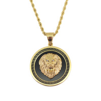 Stainless Steel Necklaces Silver Gold Color Lion Head Pendant European American Hip Hop Jewelry Men's Gift 24 inch Chain