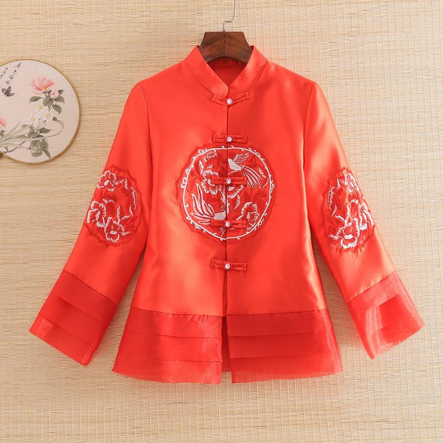Embro Mill New Style Autumn Women Jacket Top Chinese Style Retro Embroidery Elegant Lady  Coat Female S-2XL