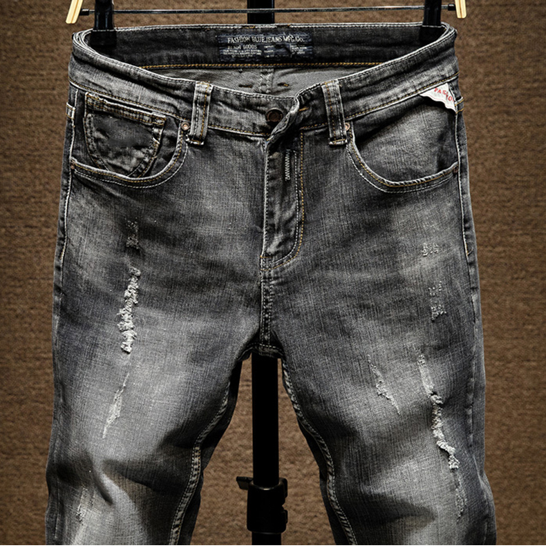 Distressed Jeans Men Ripped Slim Fit Gray Stretch Denim Pants Fashionable Streetwear Biker Jean for