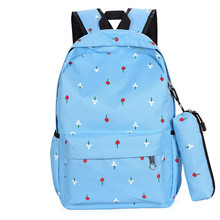 Women Backpack kawaii with Pencil bag Female travel backpack cute laptop backpack Canvas Casual tote Large Capacity casual women s backpack with canvas and printed design