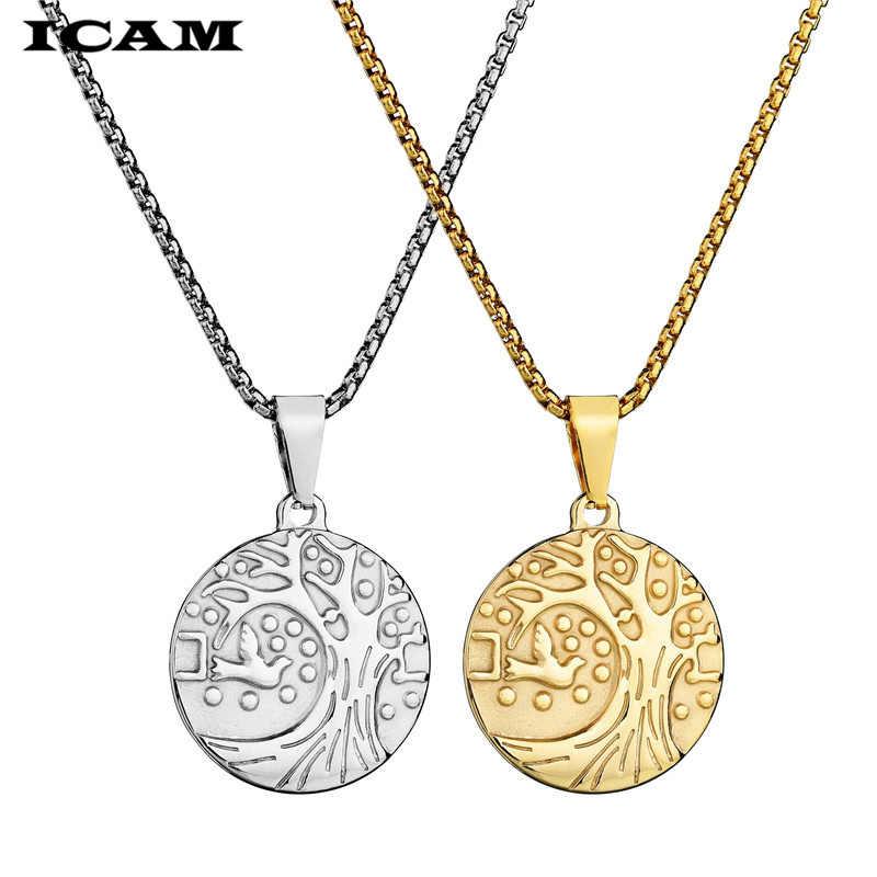 ICAM Gold สี Tree of Life pigeon สร้อยคอและจี้เครื่องประดับสแตนเลสสำหรับชายหญิงสาว