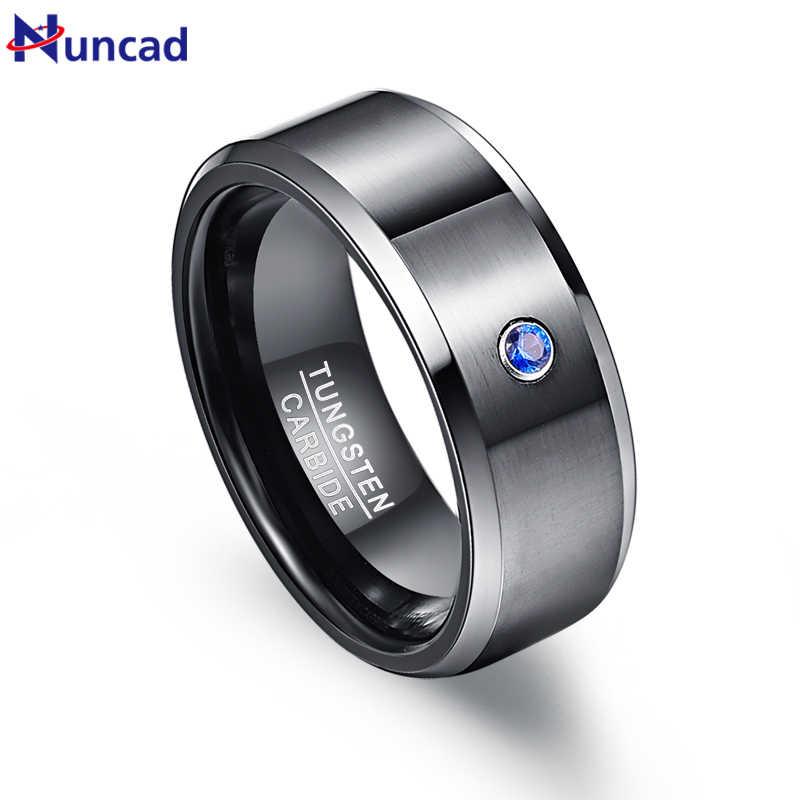Nuncad ชาย 8mm แหวนทังสเตนคาร์ไบด์สีดำ Brushed Blue Cubic Zirconia แหวนแต่งงานทังสเตนแหวนขัด Beveled ขนาด 7-12