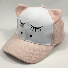 Summer Girls Ears Caps Cartoon Adjustable Baseball Cap Sleepy Eyes Love Heart Kids Cap for 2 to 8years(China)