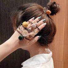 Модная резинка для волос с кристаллами и квадратными бусинами для женщин и девушек, эластичная резинка для волос, аксессуары для завязывани...