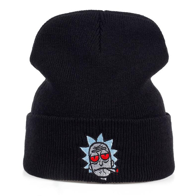 Embroidery Rick And Morty Knitted Beanies Winter Hat For Men Women Ladies Warm Solid Slouchy Skullies Beanie Ski Hip Hop Cap