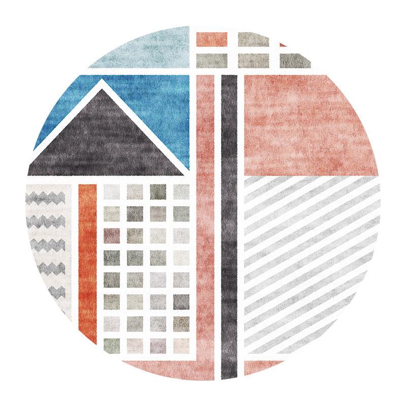 Современный абстрактный ковер для гостиной скандинавский круглый ковер нескользящий коврик для спальни коврик с геометрическим орнаментом защита пола для дома - Цвет: 3