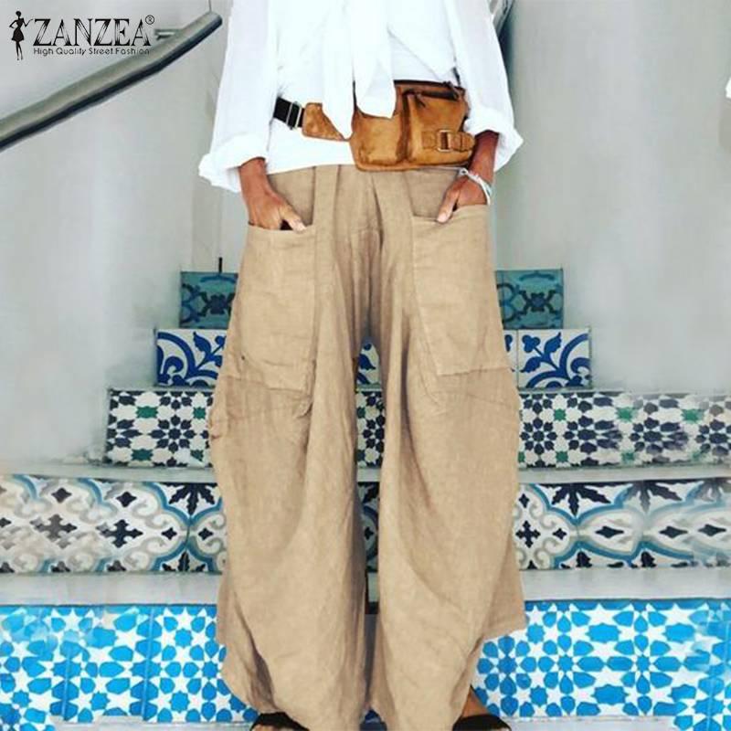 2019 Autumn Solid   Wide   Led   Pants   ZANZEA Women Casual Elastic Waist Harem Trousers Fashion Pockets Party Long Pantalon Femme Robe
