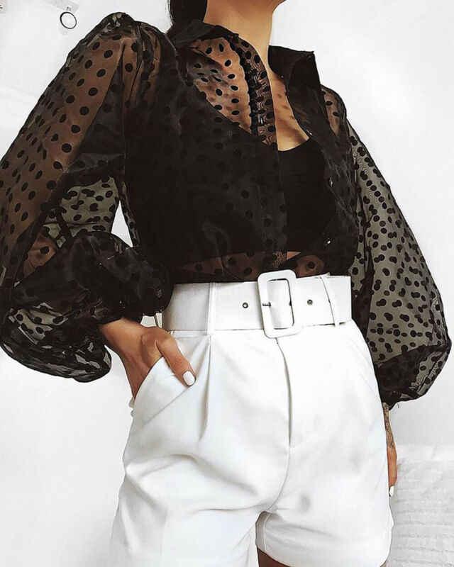 Женская блузка Осенняя с длинным рукавом Сексуальная прозрачная рубашка Весенняя Повседневная перспективная сетчатые Топы в горошек