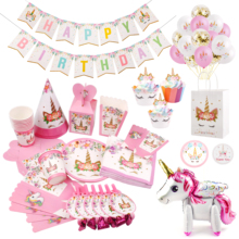 Huiran Unicorn Party Decor Birthday Supplies Baby Shower Girl Favors Unicornio