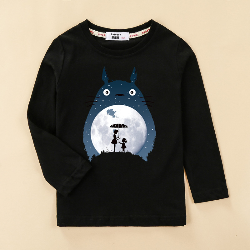 Totoro Tops Kids Autumn Long Sleeve T-shirt 100% Cotton Home Clothes Boys Girls Brands Spring Tees Costume 4