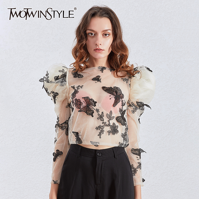 TWOTWINSTYLE Puff Sleeve Sexy Perspective Blouses Women Long Sleeve Embroidery Butterfly Shirt Tops Female Fashion Clothes 2020