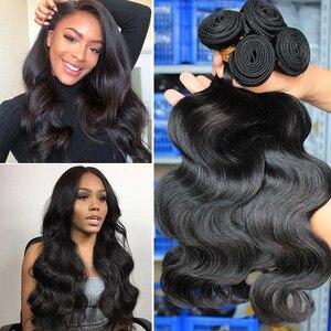 Image 1 - 実体波バンドルブラジル髪織りバンドルとともに 1 閉鎖人間のバージン毛束延長 1/3/4 個dolago髪製品