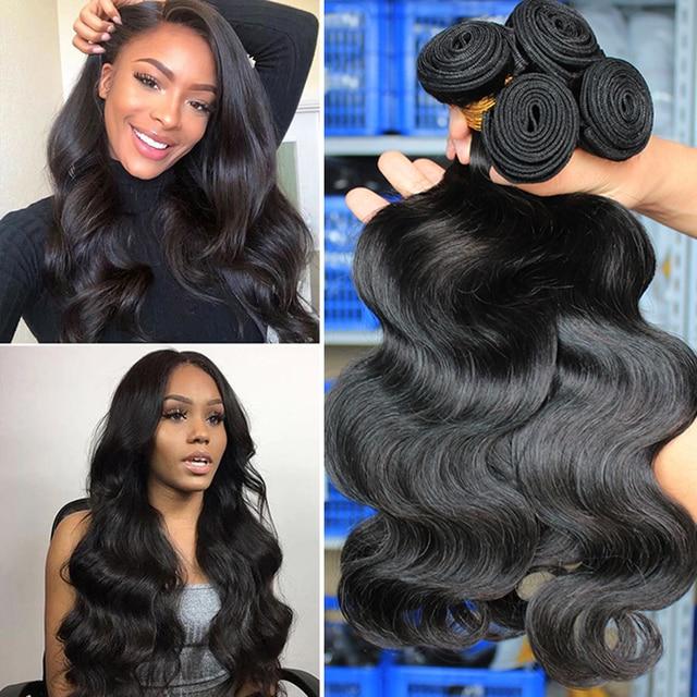 実体波バンドルブラジル髪織りバンドルとともに 1 閉鎖人間のバージン毛束延長 1/3/4 個dolago髪製品