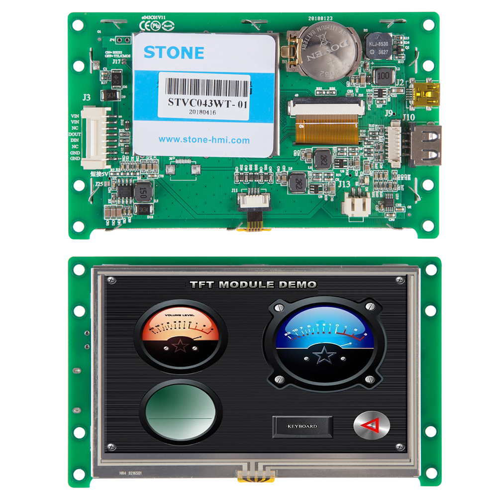 4.3 Inch HMI LCD Display With Driver + Controller + Develop Software + RS485 RS232 TTL UART Interface STVC043WT-01