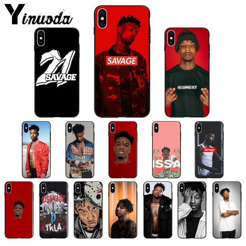 Yinuoda Rapper <font><b>21</b></font> <font><b>Savage</b></font> TPU Soft black Phone Case Cover for iPhone 6S 6plus 7 7plus 8 8Plus X Xs MAX 5 5S XR image