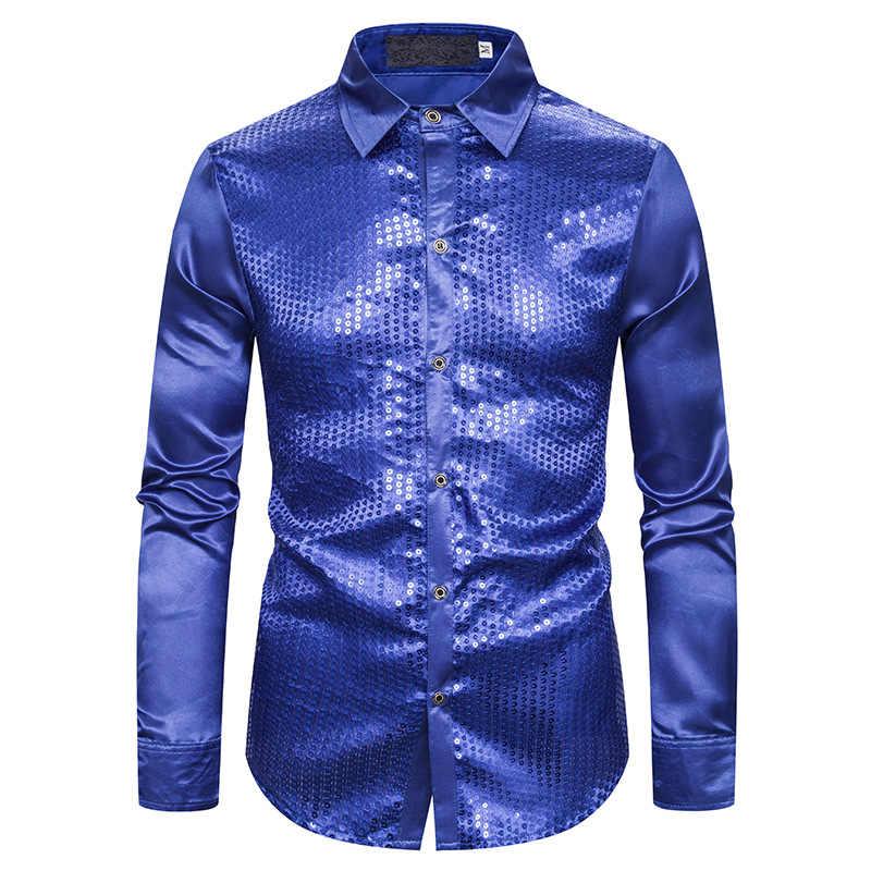 שחור משי סאטן חולצה גברים 2019 אופנה פאייטים מועדון לילה חולצות גברים Slim Fit ארוך שרוול חתונה טוקסידו תחתונית Homme