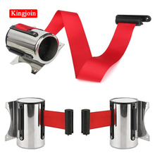 KINGJOIN 2m/5m Sport Red Belt Retractable Ribbon Barrier Stainless Steel Wall Mount