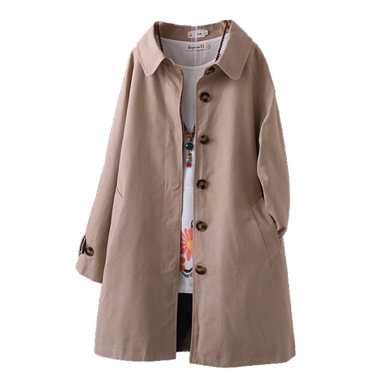 2019 Fashion Spring Autumn Cotton Trench Coat Women Single-breasted Outerwear Plus Size 4XL Student Casual Tops Windbreaker G728
