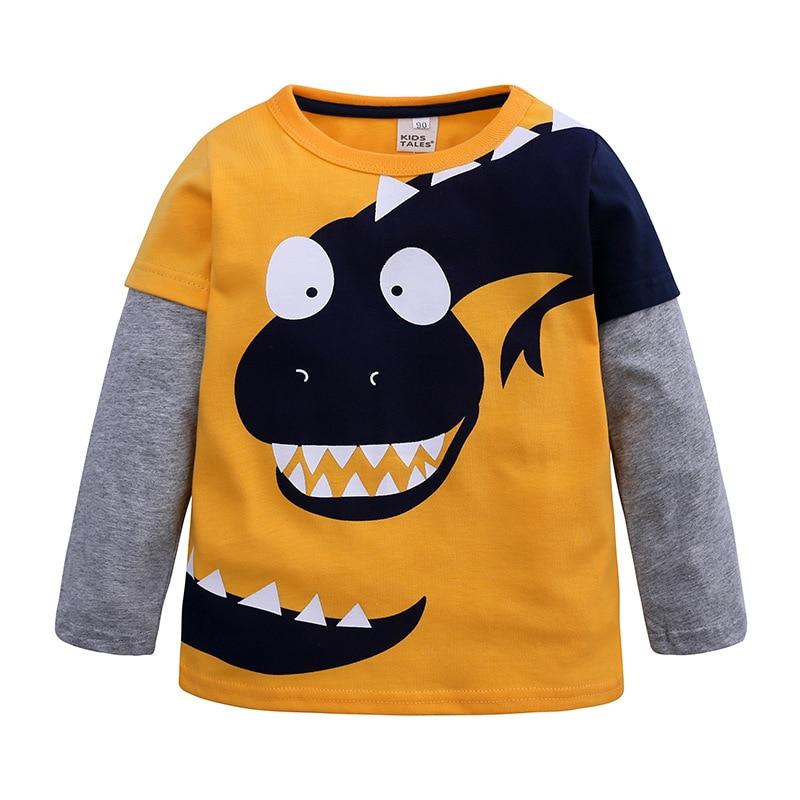 Cartoon Dinosaur T Shirt For Little Boys Long Sleeve Crewneck Tee Tops 100% Cotton Sweatshirt Dino Bottoming Shirt Casual Cloth