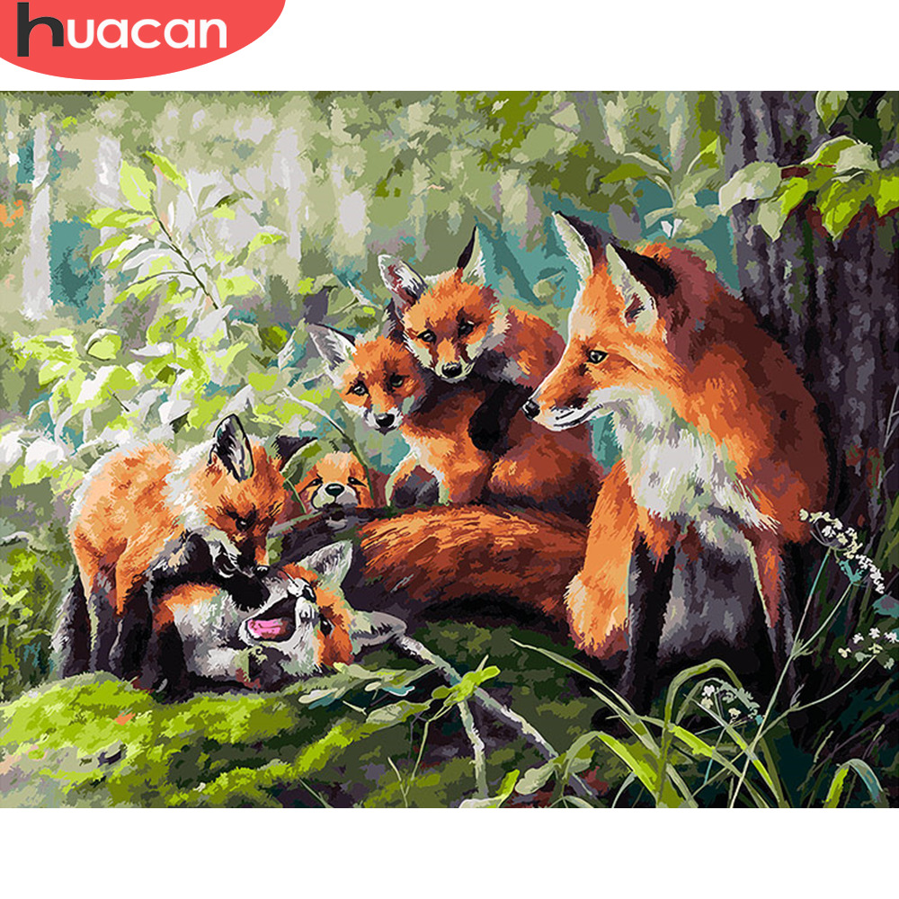 HUACAN Painting By Numbers Fox Animals HandPainted Kits Drawing Canvas DIY Oil Pictures By Numbers Home Decoration Gift