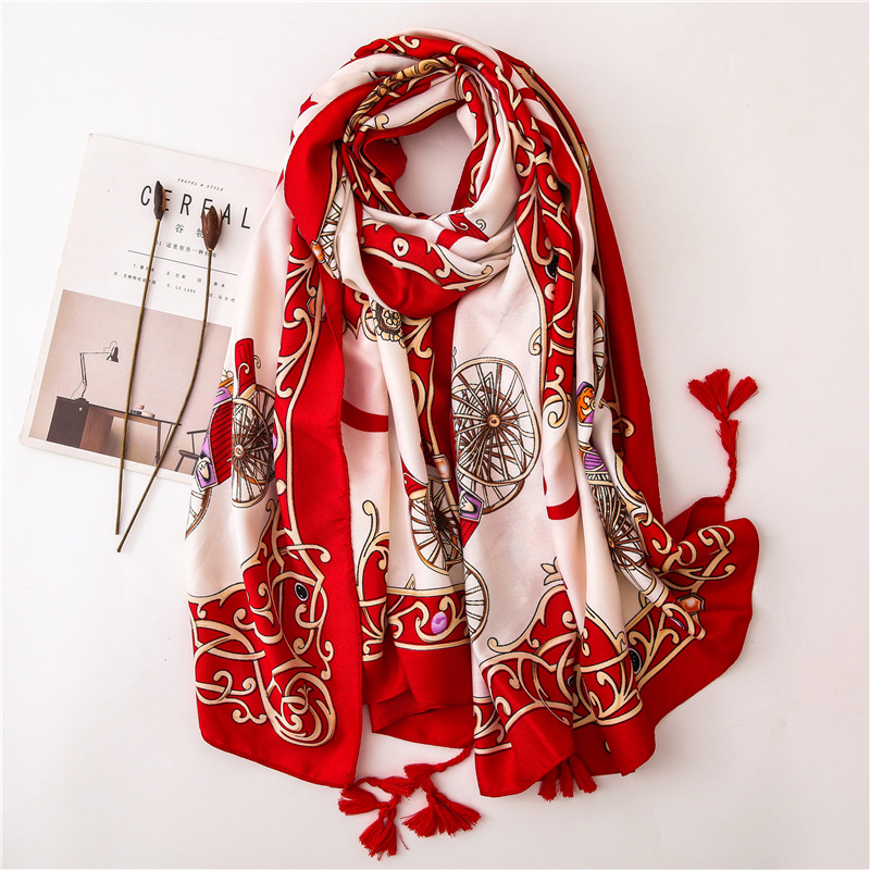 New Style Autumn And Winter Luxury Brand Cotton Scarf Women's Cotton Material Silk Scarves Lady Sunscreen Fashion Print Shawl