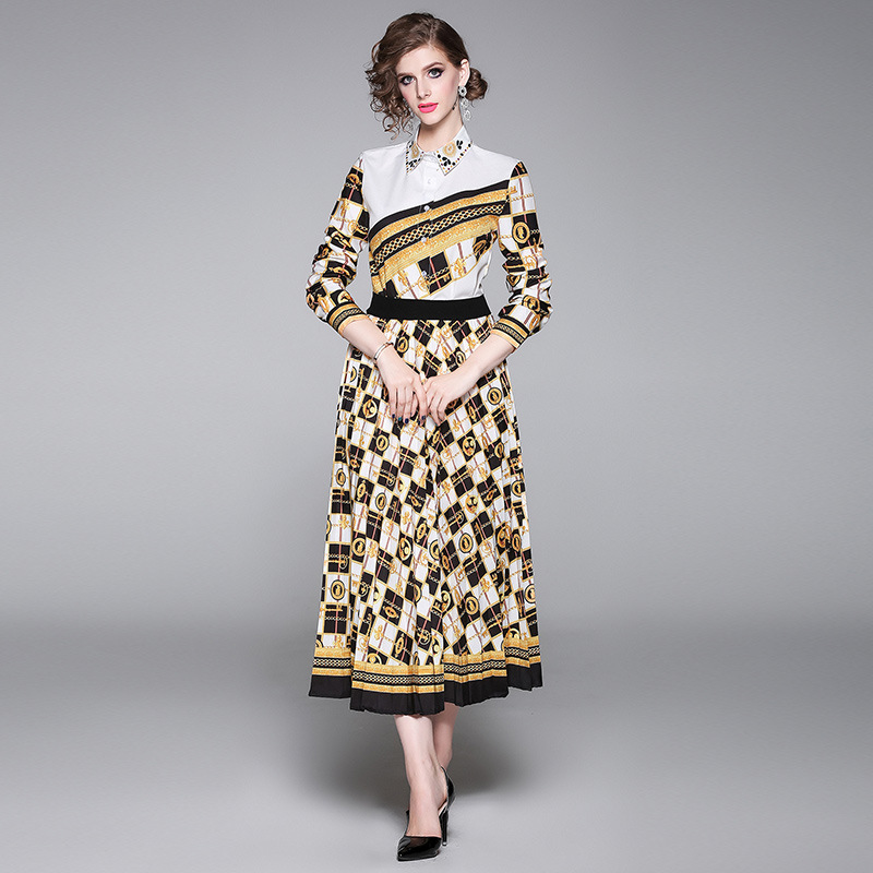 Photo Shoot 2019 Europe And America Fashion Positioning Printed Shirt + Pleated Skirt Set (Two-Piece Set)
