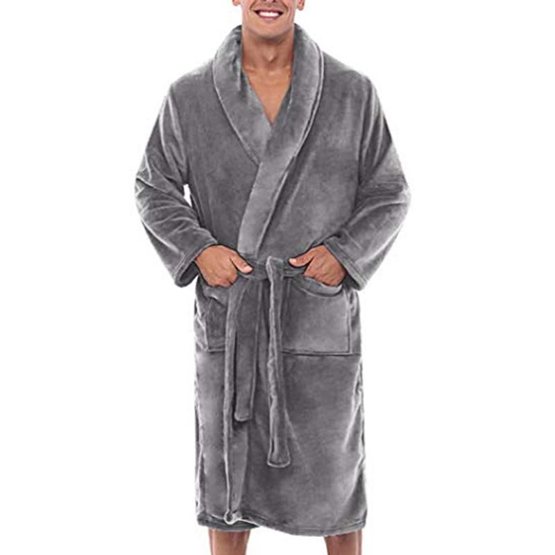 Mens Winter Warm Plush Lengthened Shawl Bathrobe Home Shower Clothes Long Robe Coat JL