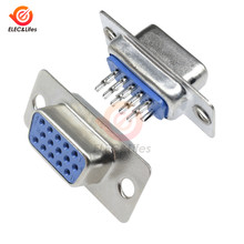 Uds D-SUB DB15 15 Pin macho hembra VGA conector enchufe Adaptador 3 filas Tipo De Soldadura macho y hembra convertidor de enchufe
