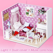 Miniature Dollhouse Wooden Children DIY for Gift Queen's-Dream Toys Puzzle-Kit 3d-Lights