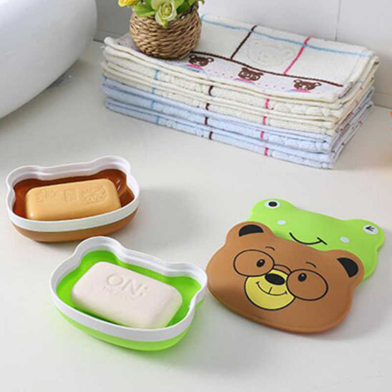 Portable Travel Waterproof Soap Box Cute Cartoon Frog Bear Shaped Soap Tray Dishes With Lid Creative Bathroom Supplies Soap Box