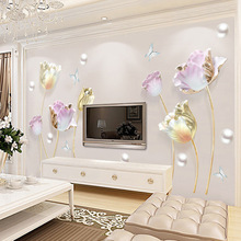 3D Tulip Flower Butterfly Wall Stickers Removable Vinyl Living Room TV Background Hallway Bedroom Wall Art Poster DIY Home Decor